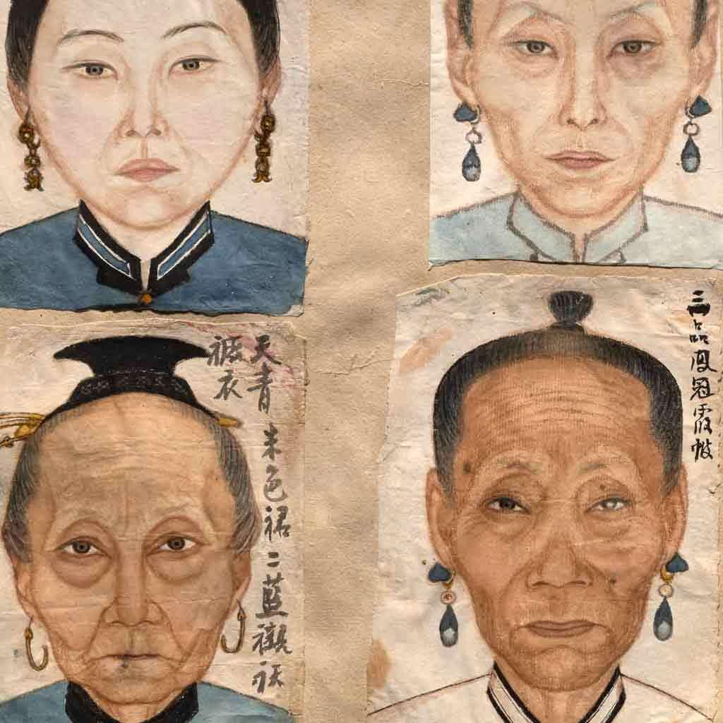 Scrapbook containing ancestor portraits