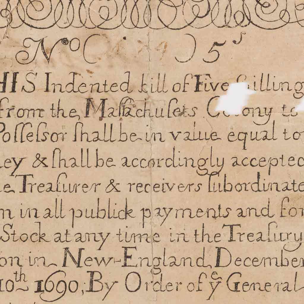 Massachusetts Colony five-shilling note
