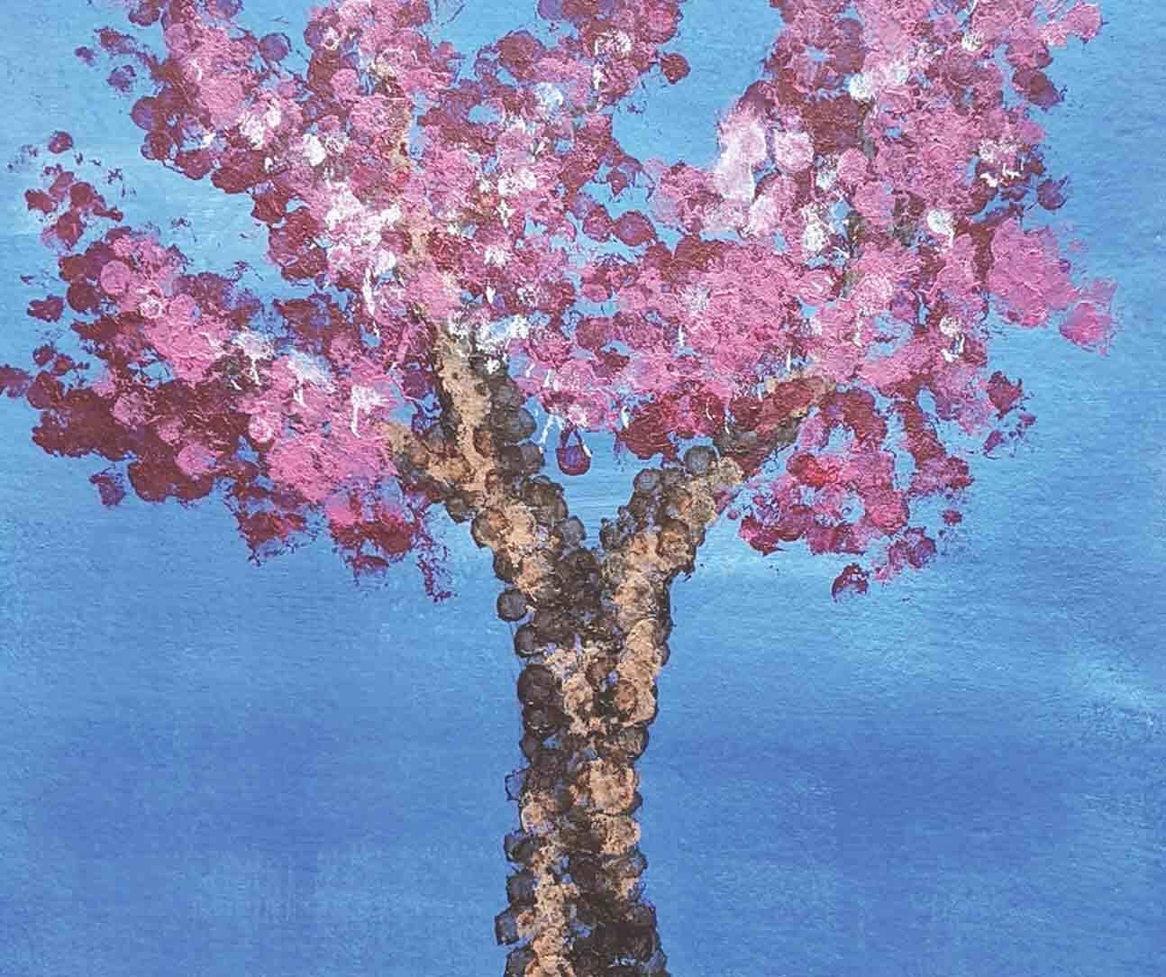 Cotton swab tree painting