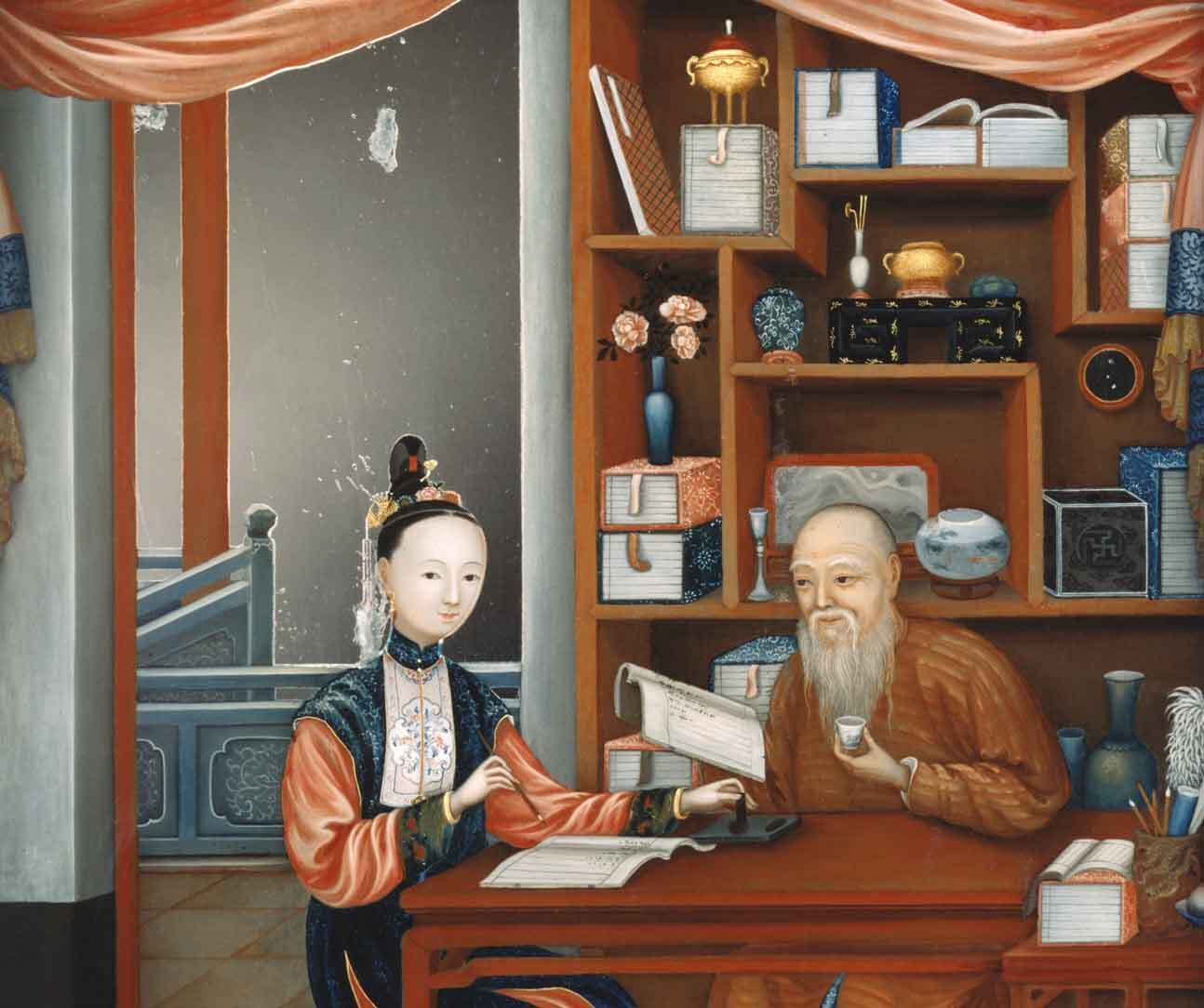 Chinese Scholar and Student in an Interior