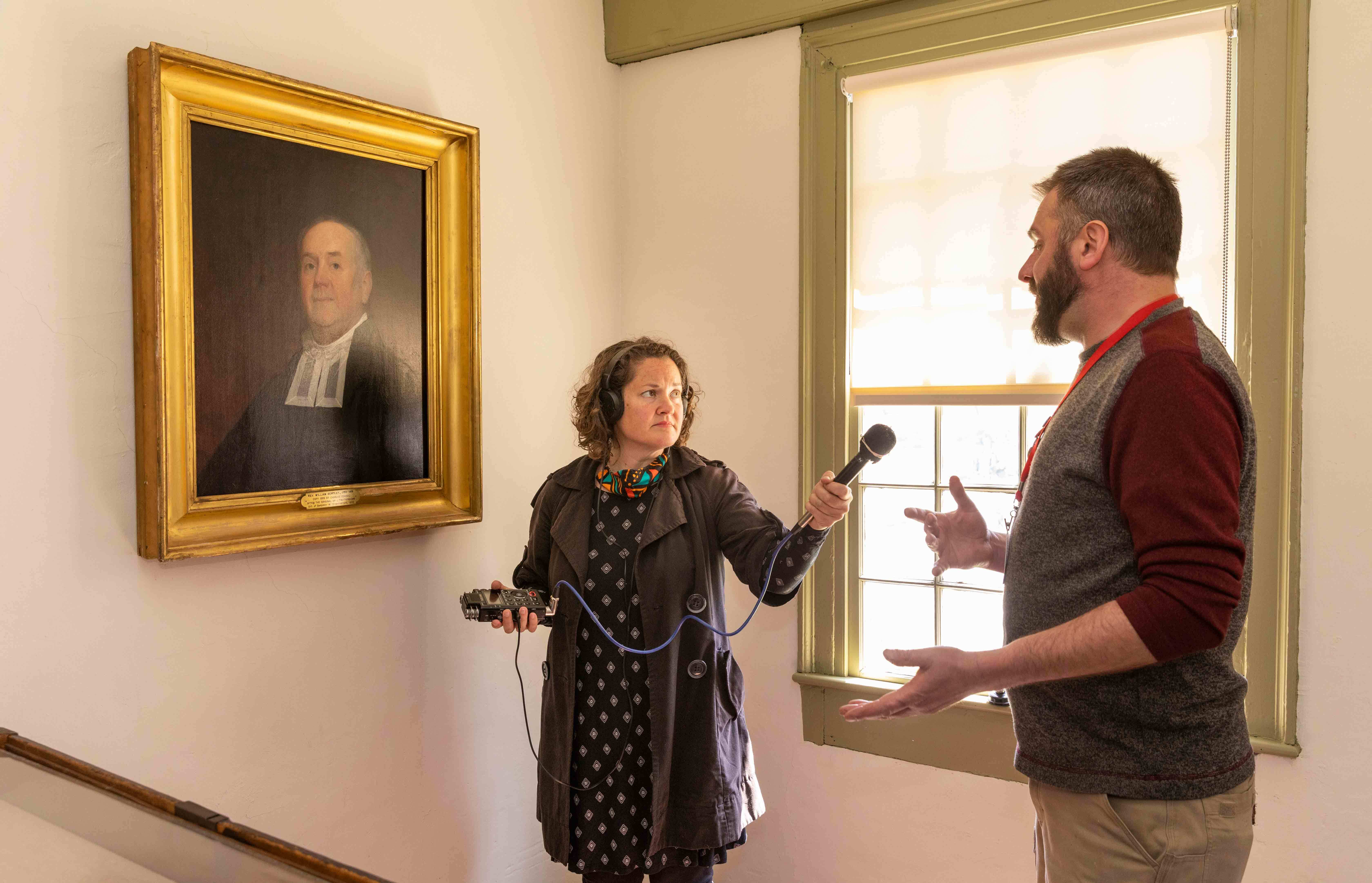 Dinah Cardein and Steven Mallory inside the Crowninshield-Bentley house