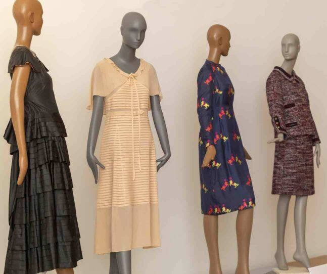 Mannequins dressed in ensembles in the Made It exhibition