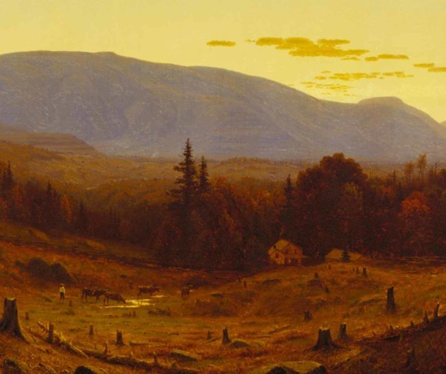 A painting of tree stumps, hilly fields, with forst and mountains in the distance and a pale yellow sky