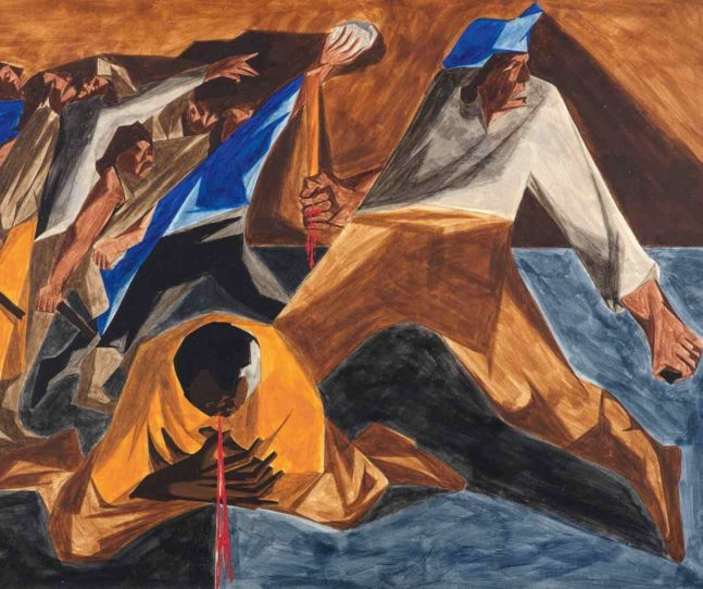 Jacob Lawrence, Massacre in Boston, Panel 2, 1954, from Struggle: From the History of the American People, 1954–56
