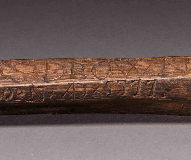 A detail view of Calendar stick made on Tristan da Cunha, 1804