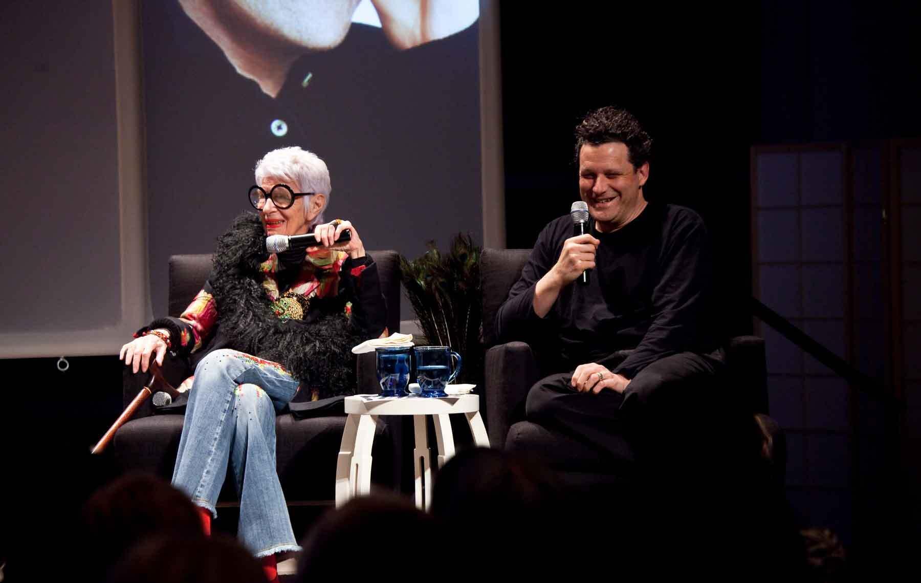 Iris Apfel and Isaac Mizrahi in a program at PEM in 2009. Photo by Kathy Tarantola/PEM.