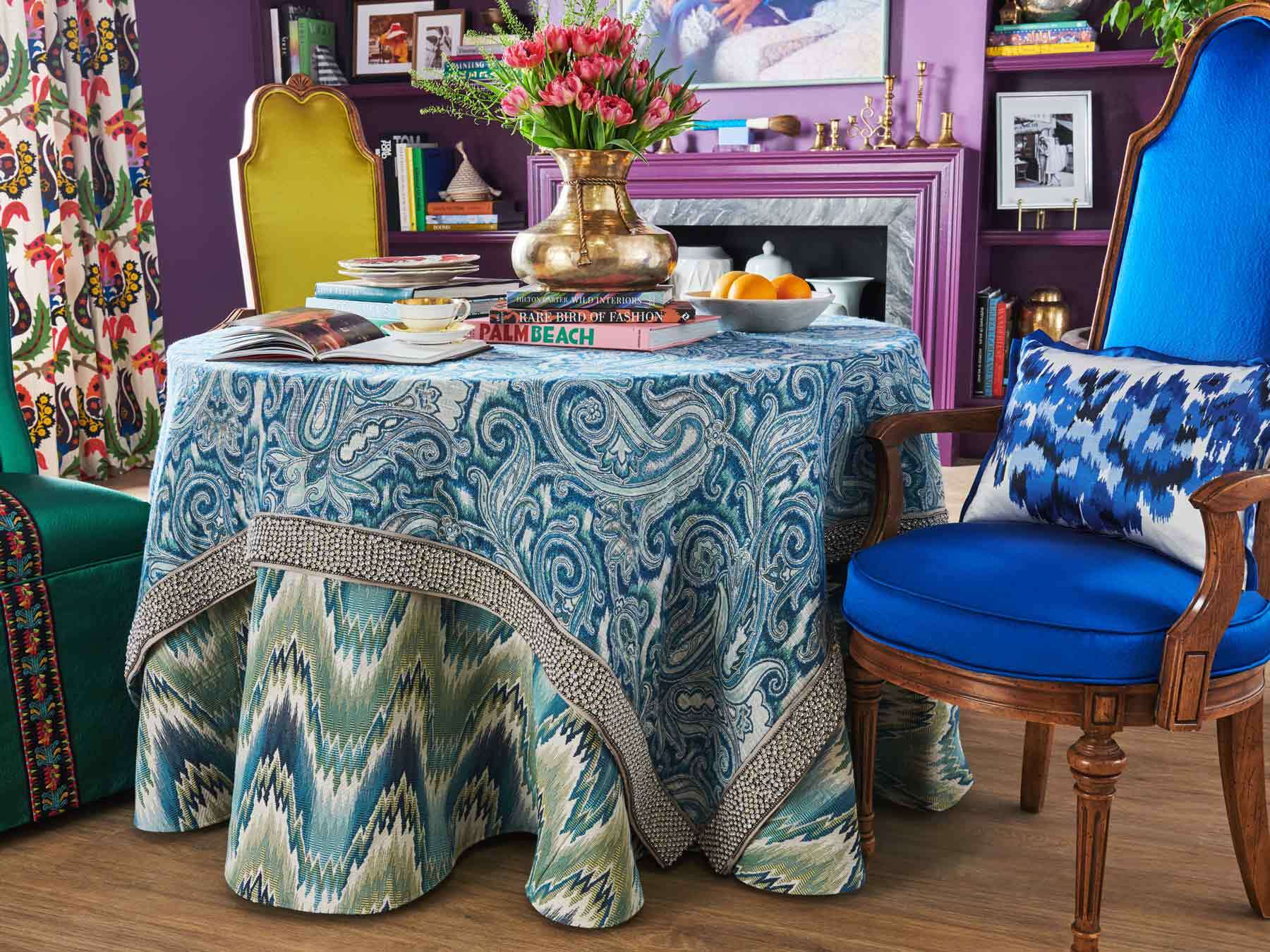 This chair and fabric from Fabricut will be part of a window installation at 179 Essex Street, dedicated to Iris Apfel.