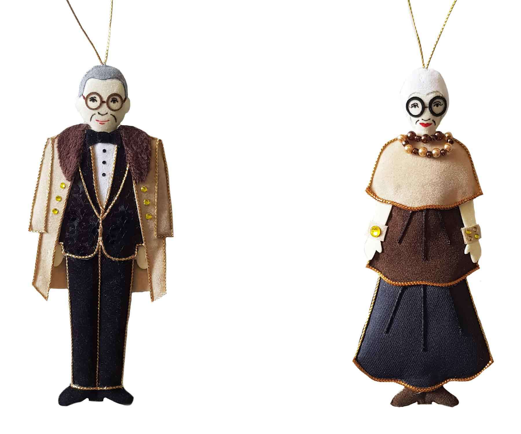 PEM-exclusive ornaments created to honor Carl and Iris Apfel.