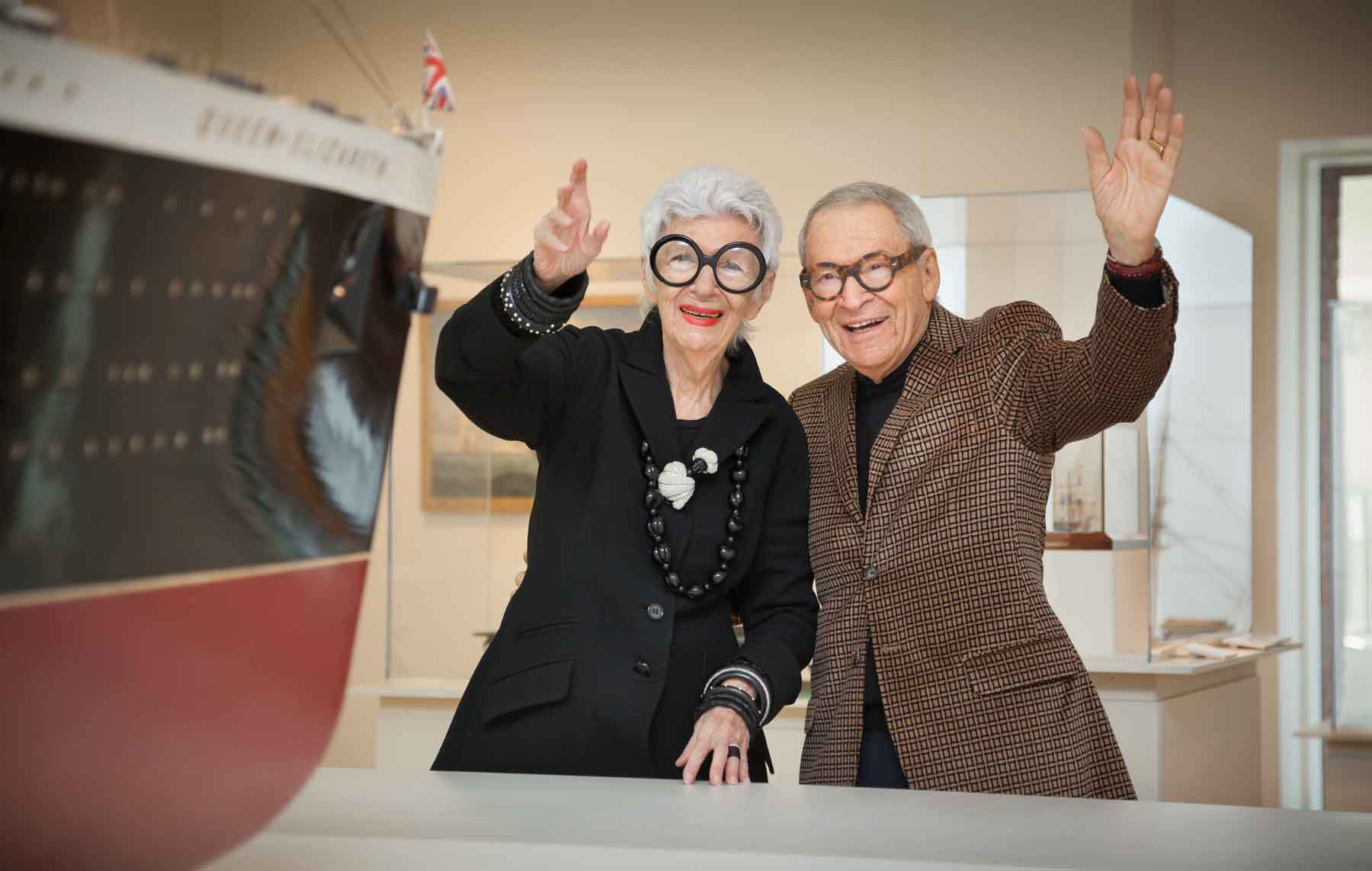 Iris and the late Carl Apfel in the galleries at PEM in 2009. Photo by Walter Silver