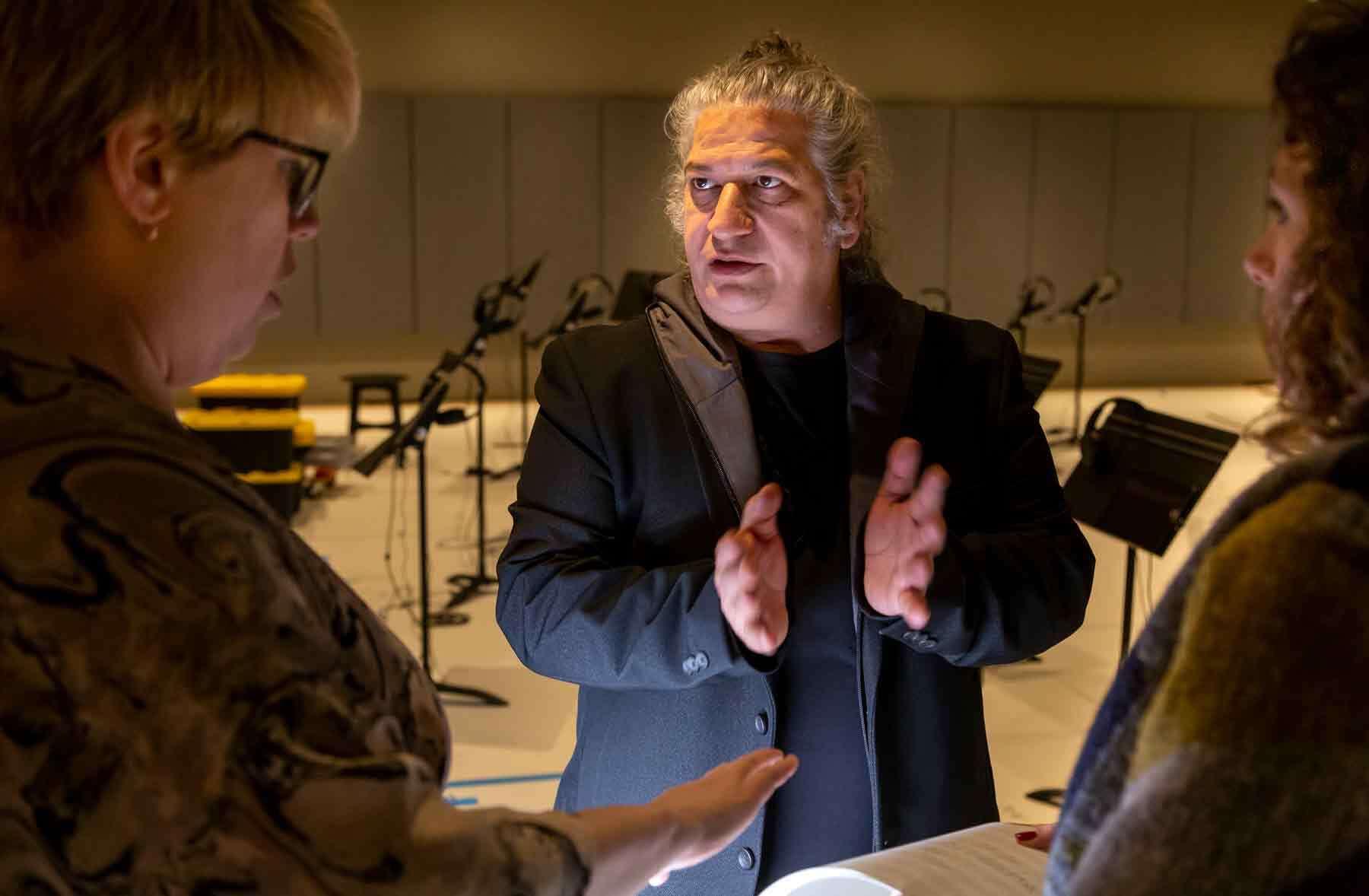 Carlos Garaicoa working with PEM staff on install of Partitura. Photo by Kathy Tarantola/PEM.