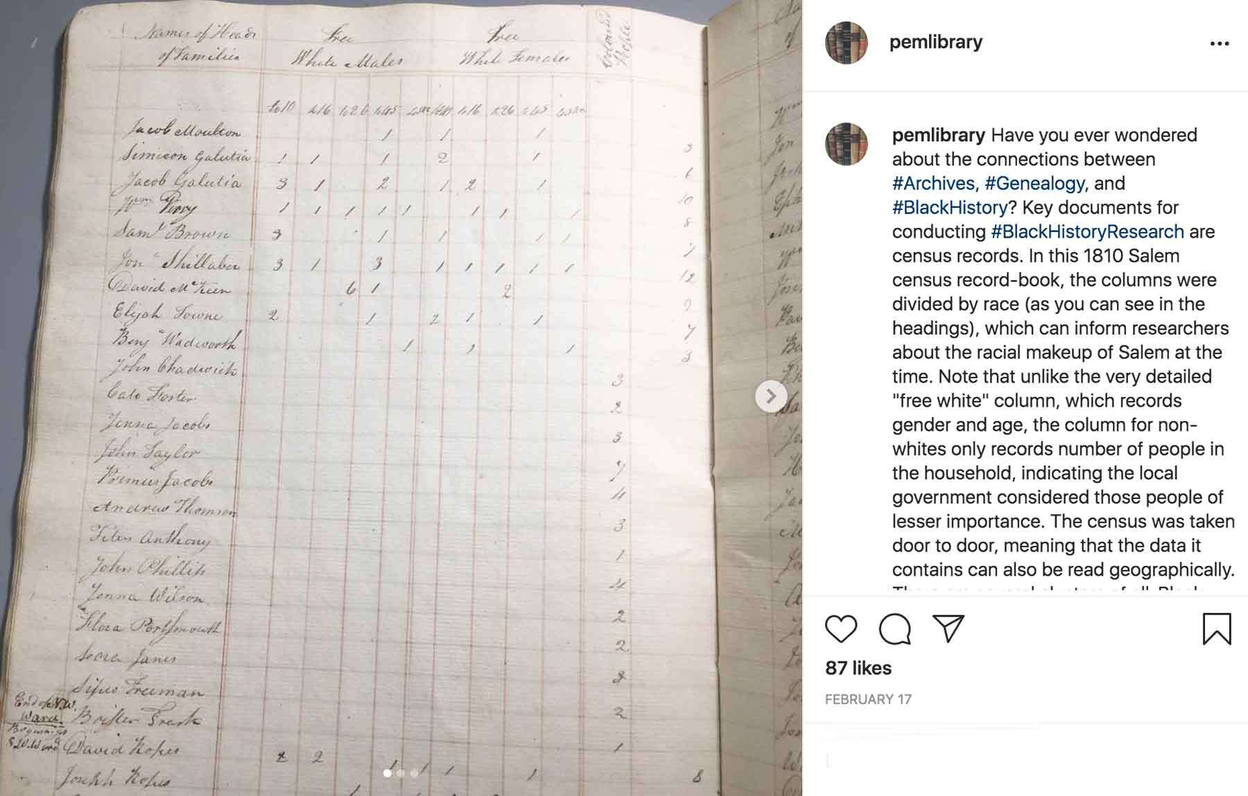 Instagram image of the 1810 census page in a book