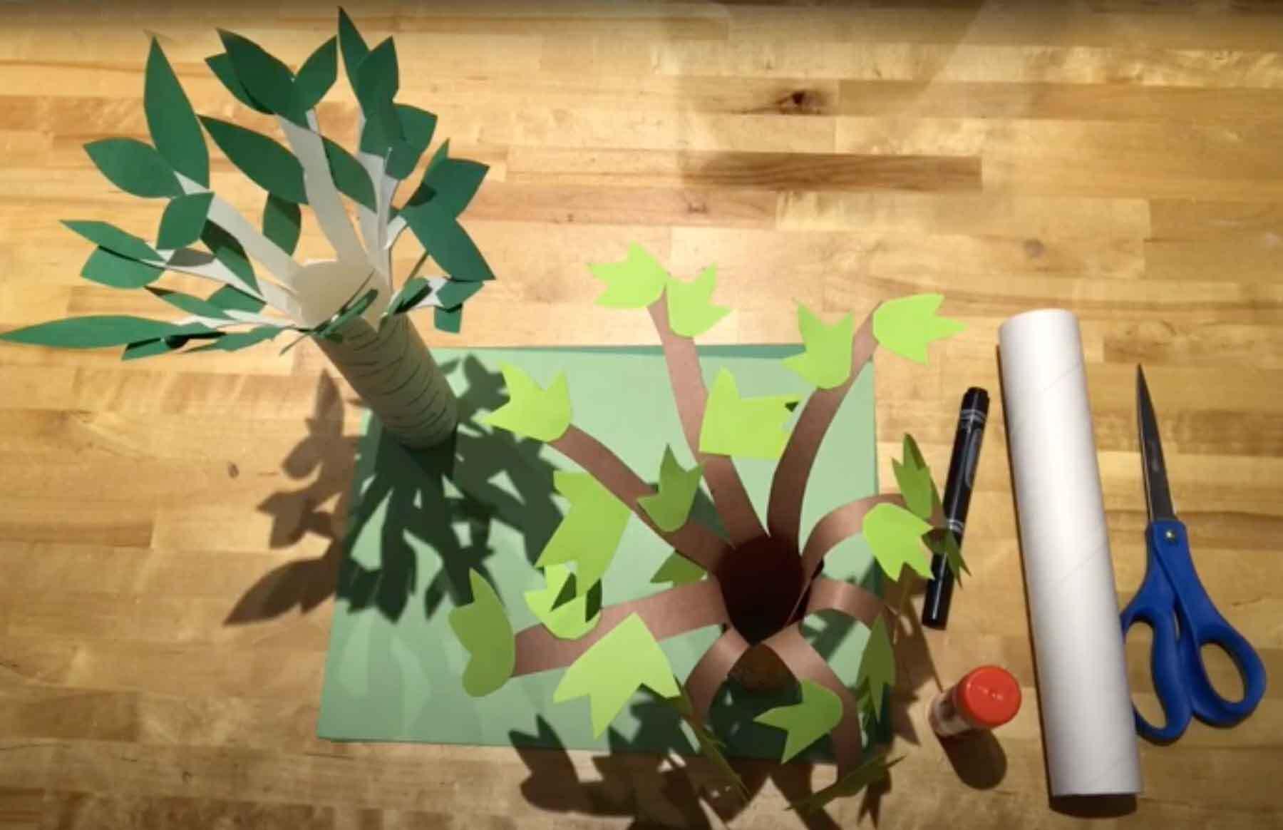 Arbor Day tube trees drop-in art activity