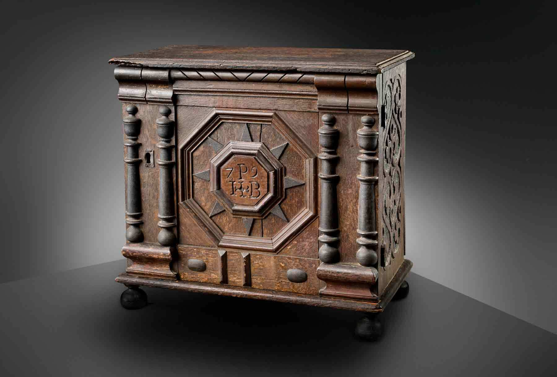 James Symonds, Valuables cabinet owned by Joseph and Bathsheba Pope, 1679. Oak, maple, iron, and paint, 16 1/2 x 17 x 9 1/2 inches (41.91 x 43.18 x 24.13 cm). Museum purchase, made possible by anonymous donors, 2000, 138011. Photo by Dennis Helmar
