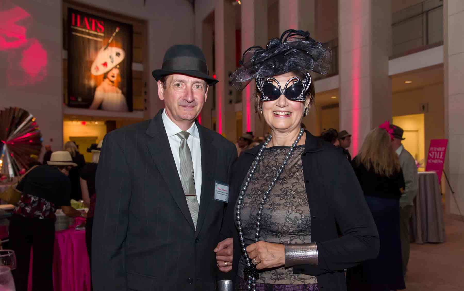Dean and Betsy Lahikainen at the opening of the exhibition Hats: An Anthology by Stephen Jones.