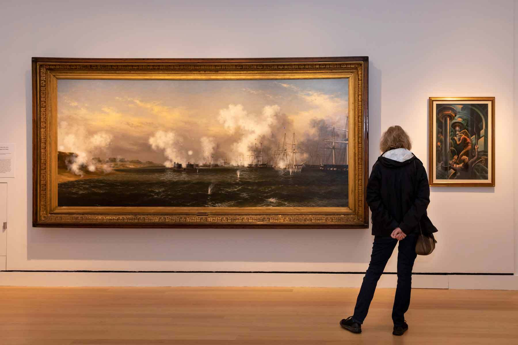 Guests in the galleries on opening weekend of In American Waters