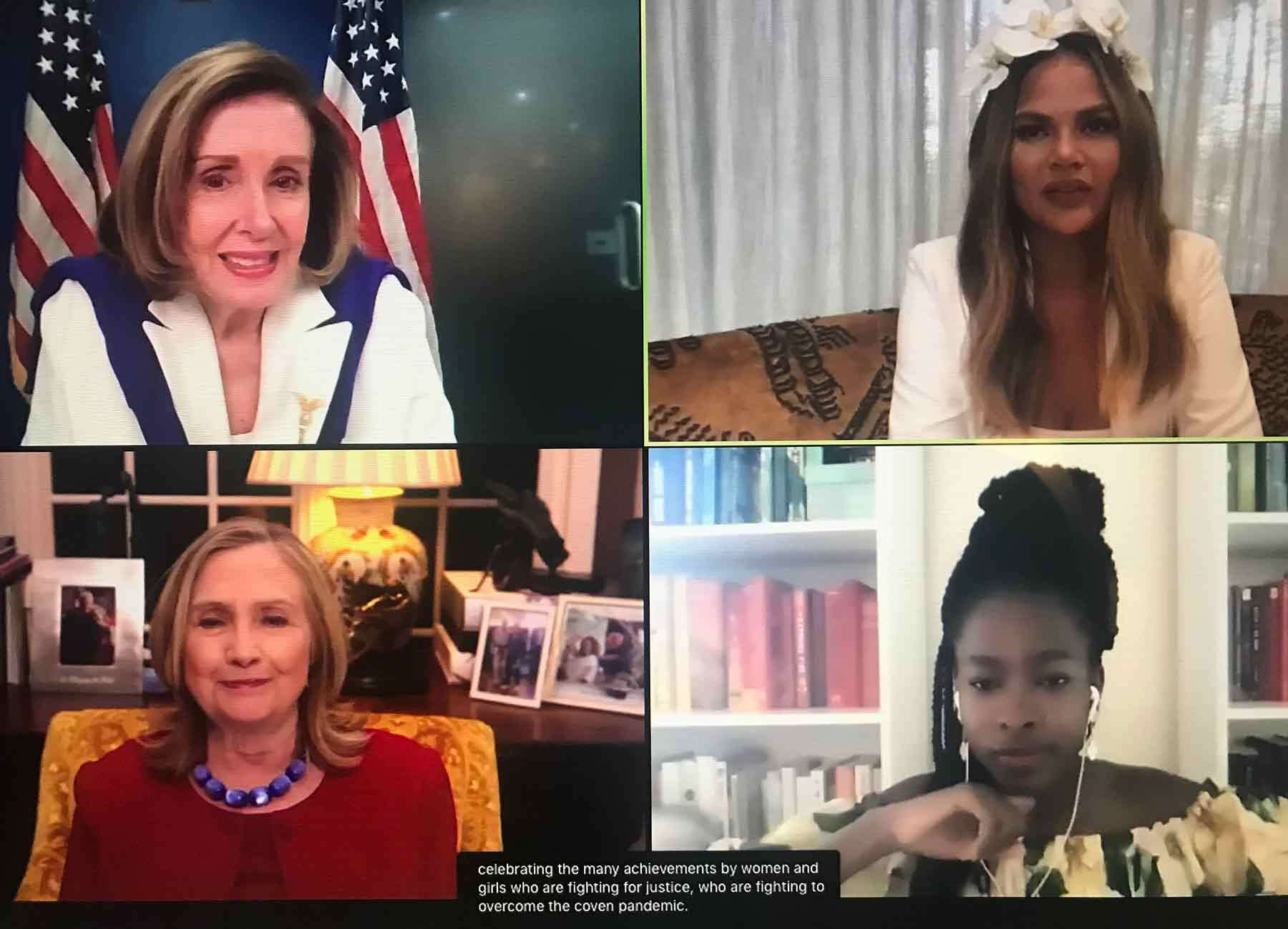 Screenshot of a virtual conversation for International Women's Day on March 8, 2021.