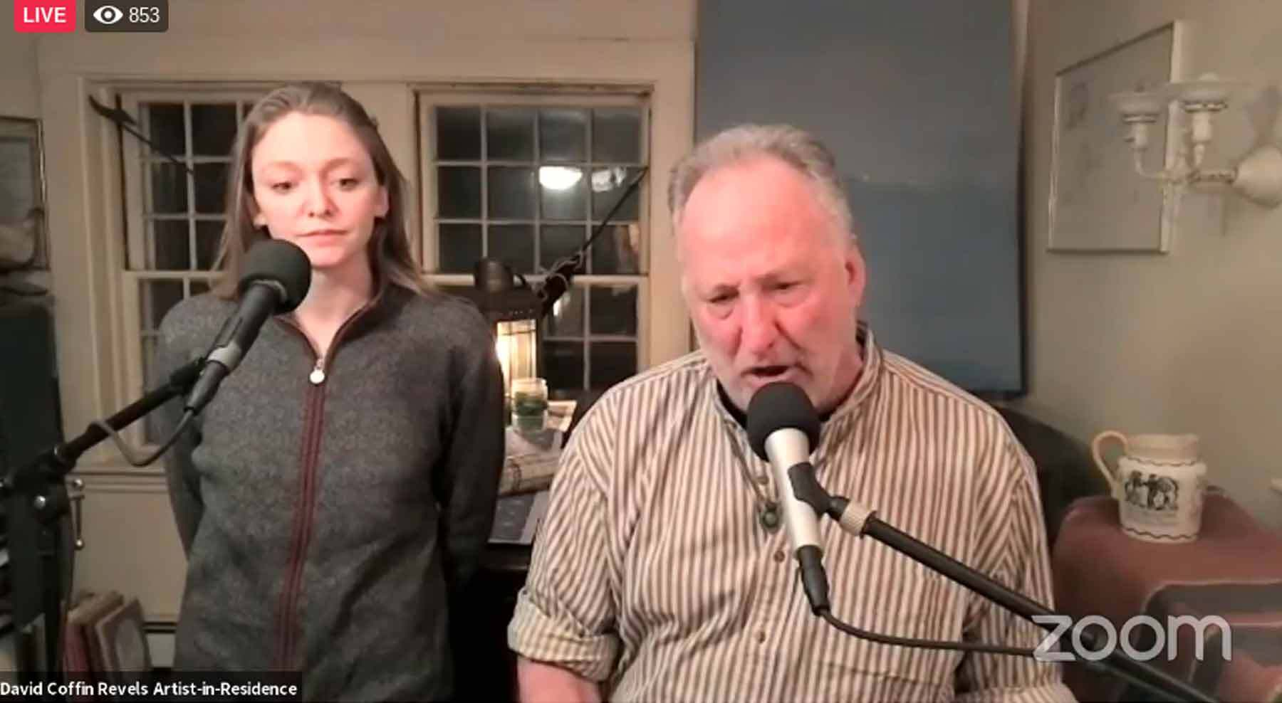 David Coffin and his daughter Linnea lead a group of 1,000 people on a Facebook Live chanty singalong.