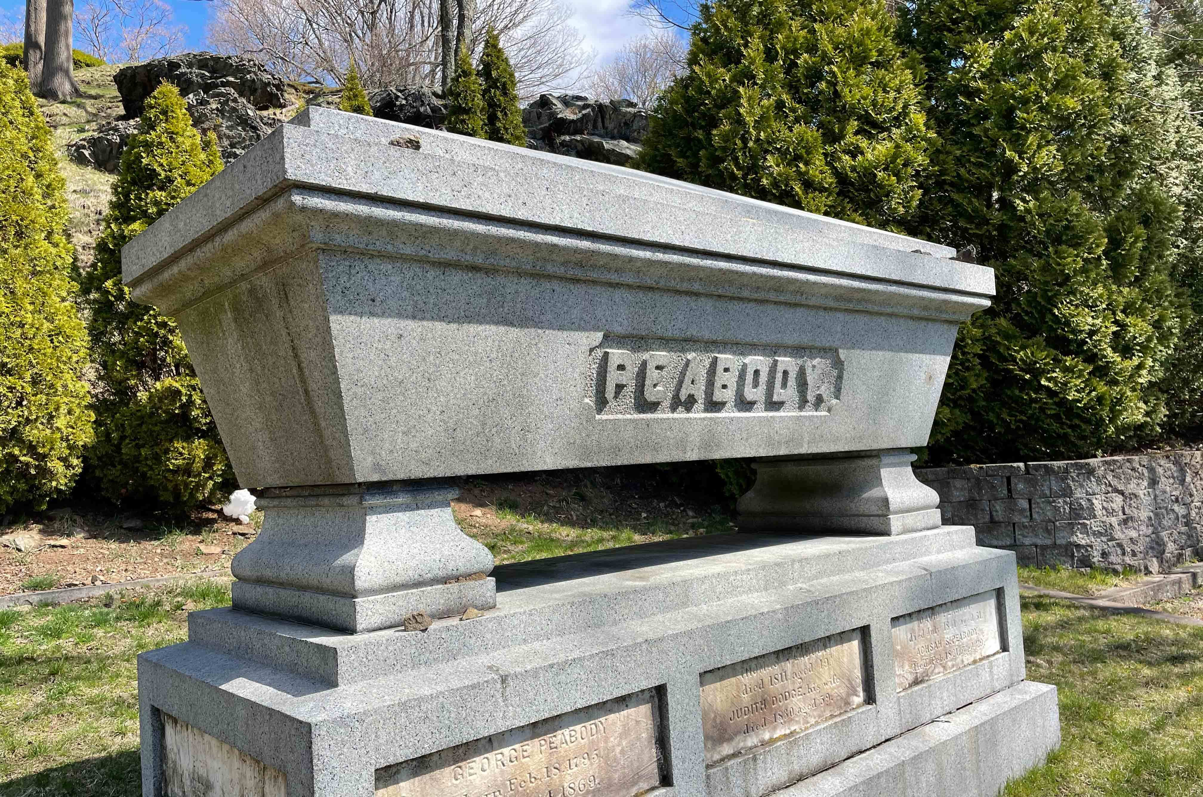 Incorporated in 1840, Harmony Grove cemetery straddles Peabody and Salem and is the final resting place for many philanthropists