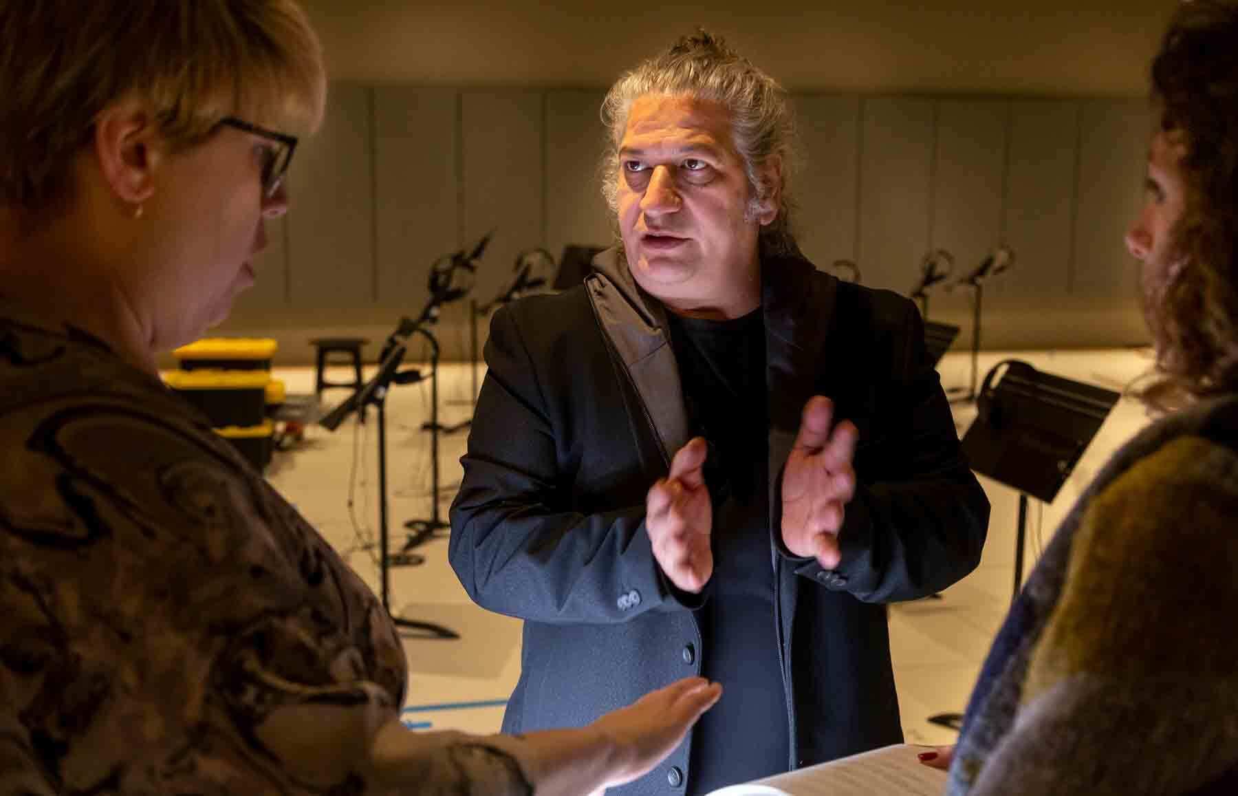 Carlos Garaicoa preparing his exhibition with PEM staff. Photo by Kathy Tarantola/PEM.
