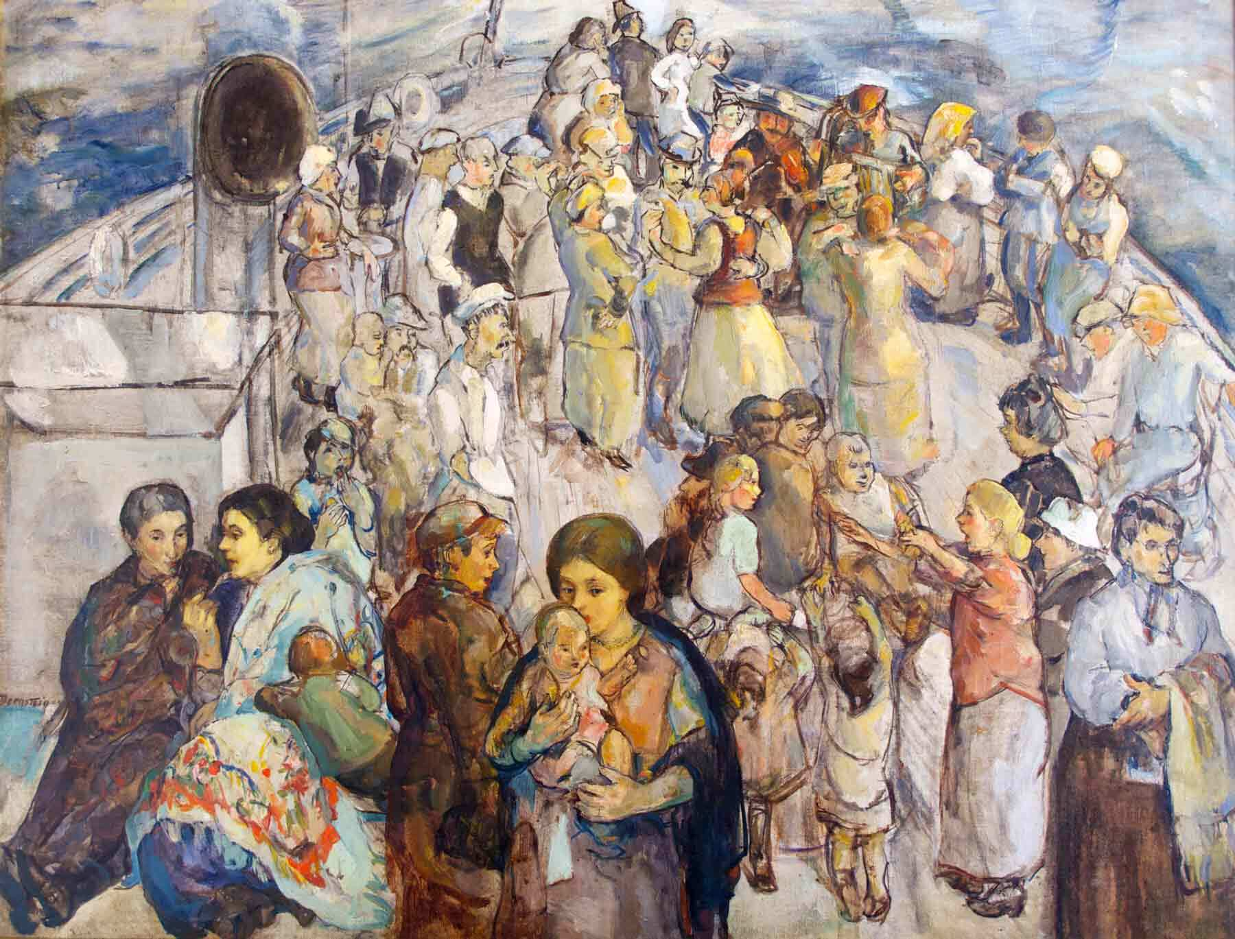 Theresa Bernstein (1890-2002). The Immigrants, 1923. Oil on canvas. Thomas and Karen Buckley. Image courtesy of Woodmere Art Museum