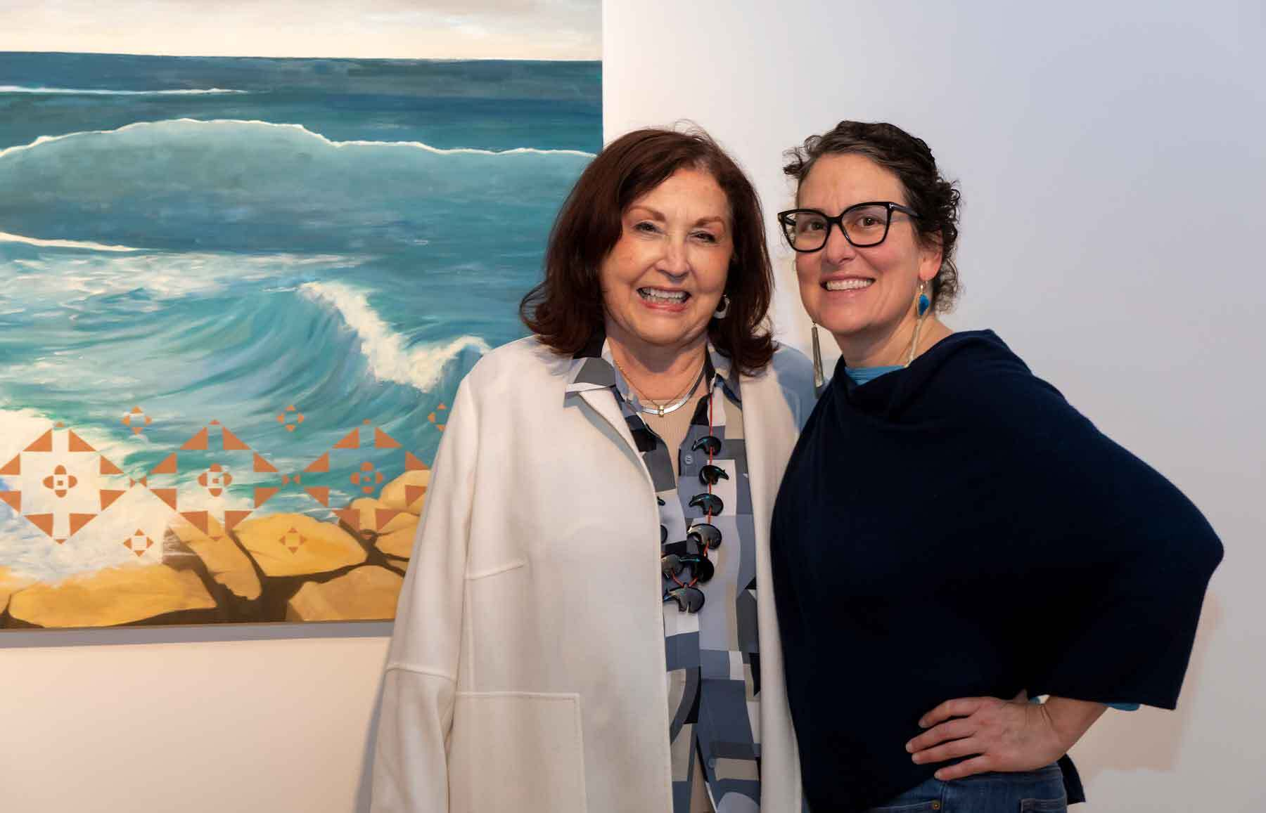 The artist Kay WalkingStick with PEM's Curator of Native American and Oceanic Art and Culture, Karen Kramer, during the opening of In American Waters.