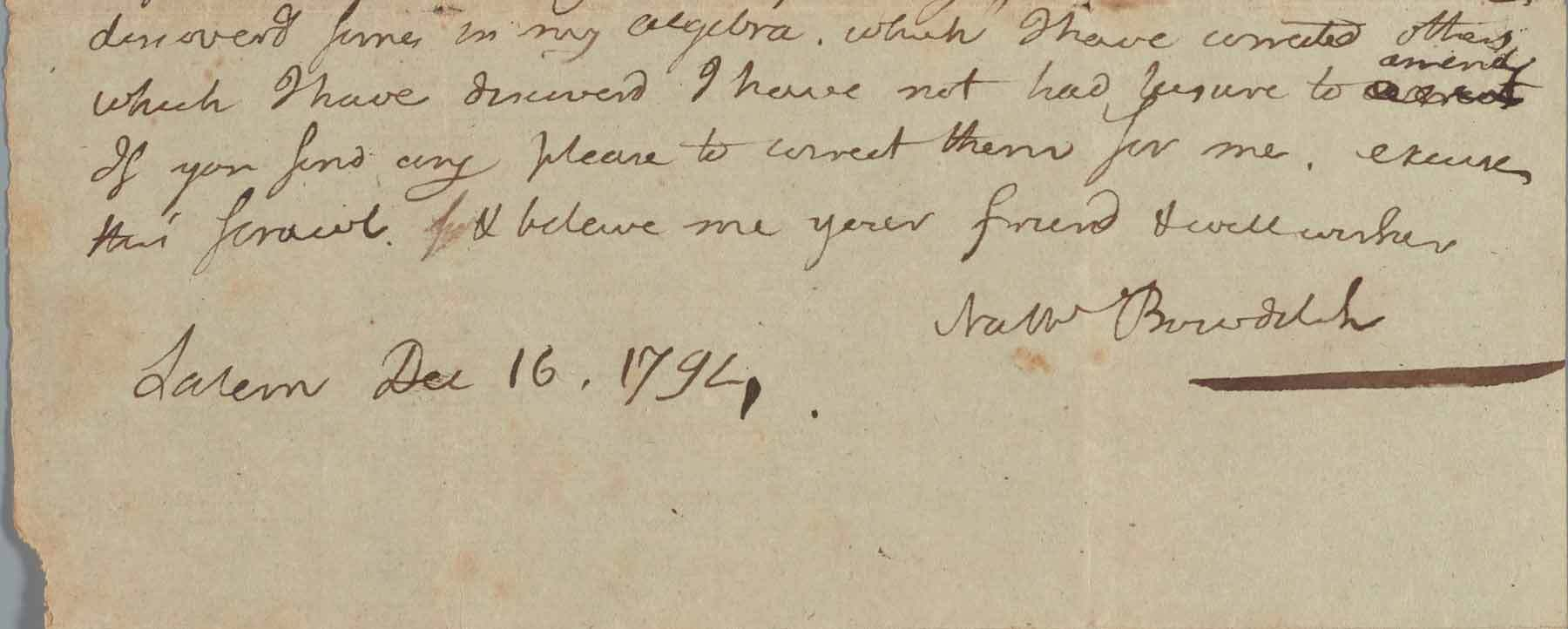 Nathaniel Bowditch, Letter to Moses Dorman of Boxford, Mass. (detail), Dec. 16, 1794, Phillips Library, MSS 3, box 1, folder 1, Purchase, funded by Jonathan Loring, 2021.