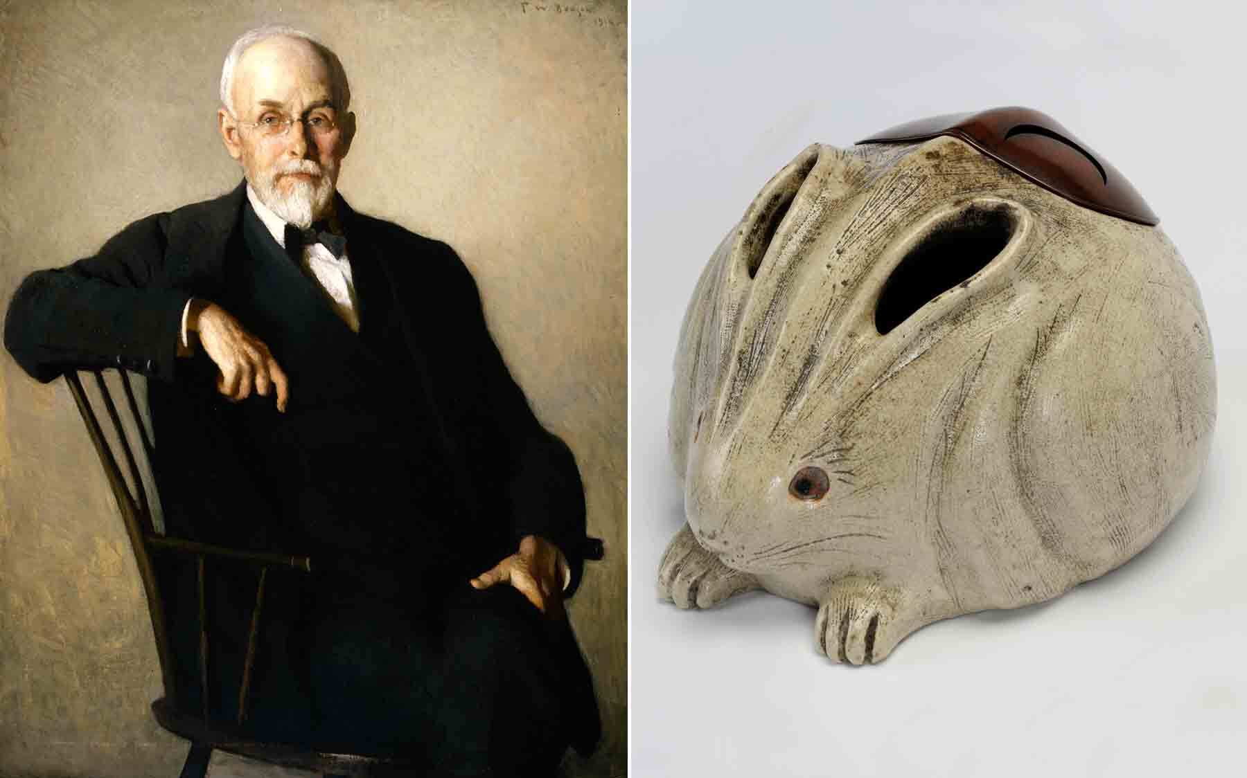 Frank Weston Benson's Portrait of Edward Sylvester Morse, and a brazier in the form of a rabbit, which Morse gifted to the museum in 1900.