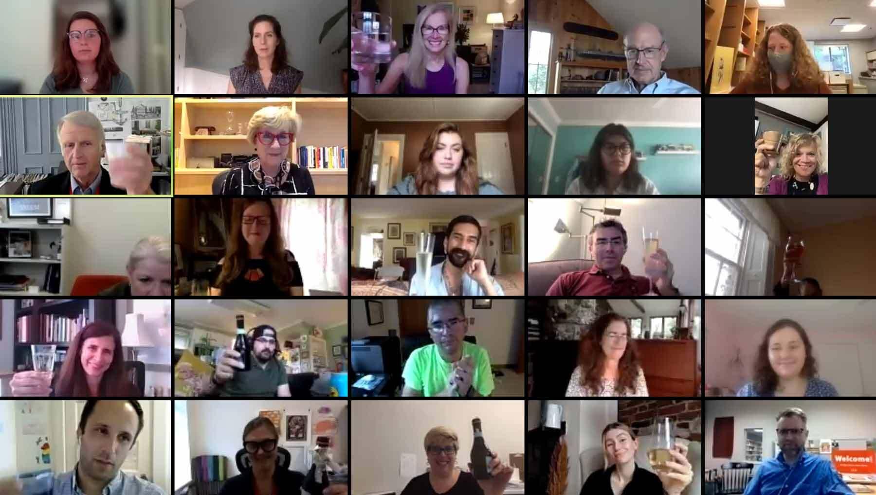 The staff enjoys a virtual welcome for Lynda Hartigan.