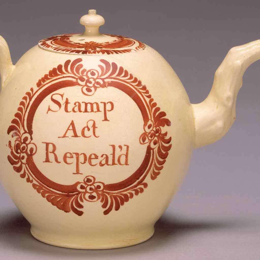 """Stamp Act Repeal'd"" teapot, 1766–70"