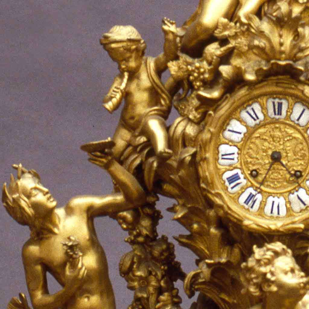Clock (part of a mantel garniture), late 1870s