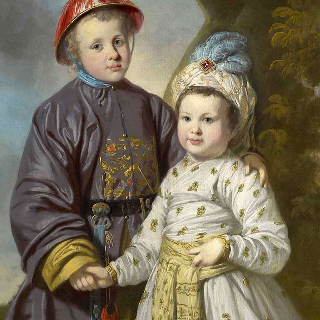 Two English Boys in Asian Clothing, about 1780