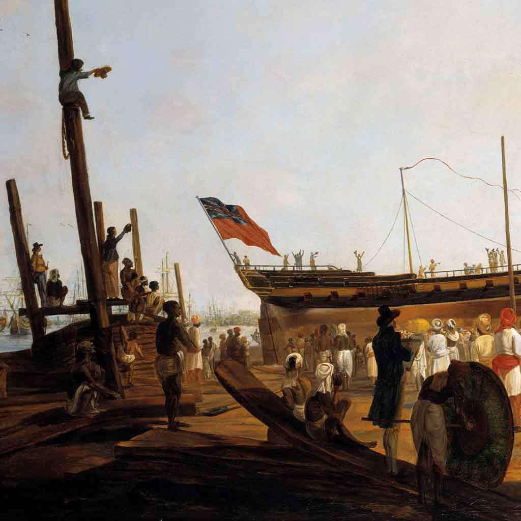 Launching of an Armed Merchantman in Calcutta Harbor, 1791–96