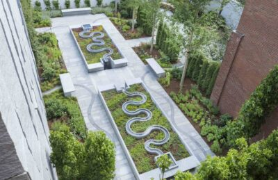 An aerial view of the new museum garden