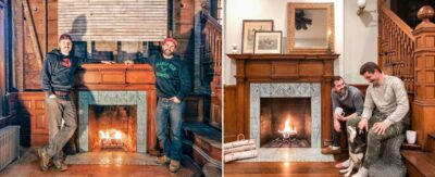 Entry with finished fireplace before and after.