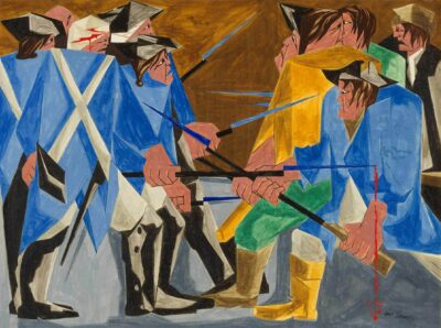 Jacob Lawrence, (American, 1917–2000). There are combustibles in every State, which a spark might set fire to. —Washington, 26 December 1786, Panel 16, 1956, from Struggle: From the History of the American People , 1954–56.