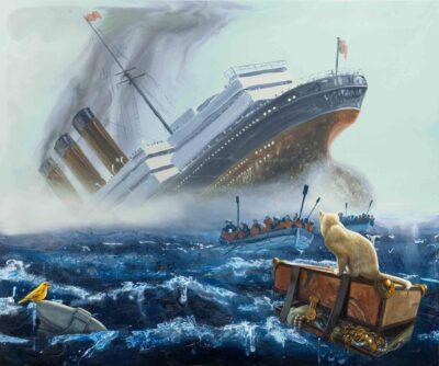 Alexis Rockman, Lusitania, 2020. Oil on wood. Courtesy of Jonathan O'Hara.