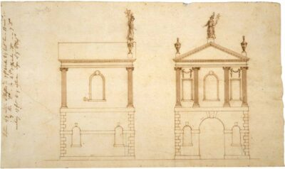 Samuel McIntire, Drawing of the side and front of the Elias Hasket Derby Summer House, 1793. Pen and ink on paper. Phillips Library, gift of Richard H. Derby, before 1900, MSS 264 flat file, #23.