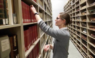 librarian at book stacks
