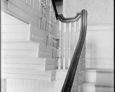 """Stairway, Richard Derby house, Salem,"" Cousins collection, on Digital Commonwealth."