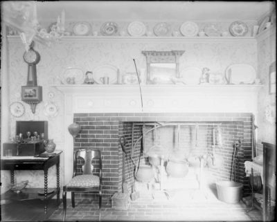 """Mantel and fireplace, Updike-Hunt house, Kingston, RI,"" Cousins collection, on Digital Commonwealth."