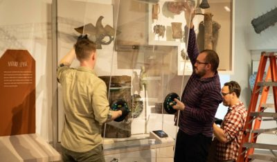 PEM staff work together on the install of the Pod