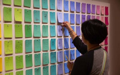 a woman places a lavendar note tag to the wall of other note tags