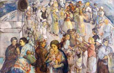 Theresa Bernstein (1890-2002). The Immigrants, 1923. Oil on canvas. 40 x 50 in. (101.6 x 127 cm). Thomas and Karen Buckley Image courtesy of Woodmere Art Museum.