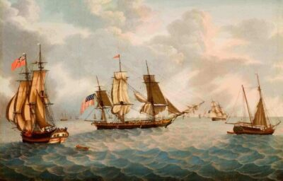 Michele Felice Cornè (1752-1845). Ship America on the Grand Banks, about 1800. Oil on canvas. 39 3/4 x 56 inches (100.965 x 142.24 cm). Gift of Mrs. Francis B. Crowninshield, 1953. M8257. © 2014 Peabody Essex Museum.