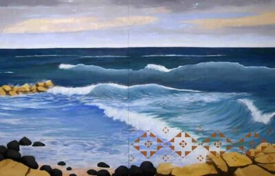 Kay WalkingStick. New Hampshire Coast, 2020. Oil on panel. 40 x 80 in.. Courtesy of the artist. ©Kay WalkingStick. Courtesy of the Artist.. Photography by Rich Schultz