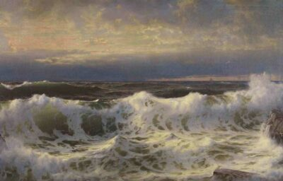 William Trost Richards. Along the Shore, 1903. Oil on canvas. 39 3/16 × 78 1/2 in. Courtesy Crystal Bridges Museum of American Art, Bentonville, Arkansas, 2009.1. Photography by Steven Watson.