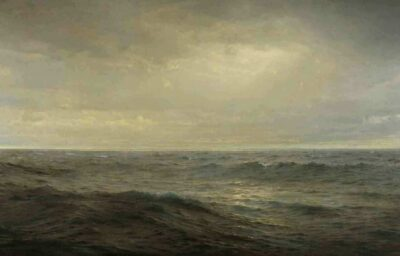 William Trost Richards. Old Ocean's Gray and Melancholy Waste, 1885. Oil on canvas. 40 3/4 x 72 1/4 in. (103.5 x 183.5 cm.). Courtesy of the Pennsylvania Academy of the Fine Arts, Philadelphia. Gift of Mrs. Edward H. Coates (The Edward H. Coates Memorial