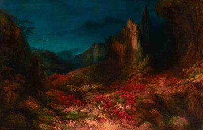 Edward Moran (1829 - 1901). The Valley in the Sea, 1862. Oil on canvas. 49 ¼ x 73 ¼ x 4 ¼ in. (125.1 x 186.1 x 10.8 cm). Indianapolis Museum of Art at Newfields, Martha Delzell Memorial. Fund, 70.5, DiscoverNewfields.org.