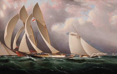 James Edward Buttersworth (1817 - 1894).   Yacht Racing off Sandy Hook, about 1877. Oil on canvas. 20 1/8 × 36 in. (51.1 × 91.4 cm). Collection of Alan Granby and Janice Hyland.