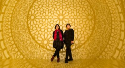 PEM Curator of South Asian Art Sona Datta (left) with Intersections artist Anila Quayyum Agha. Photo Credit Kathy Tarantola.